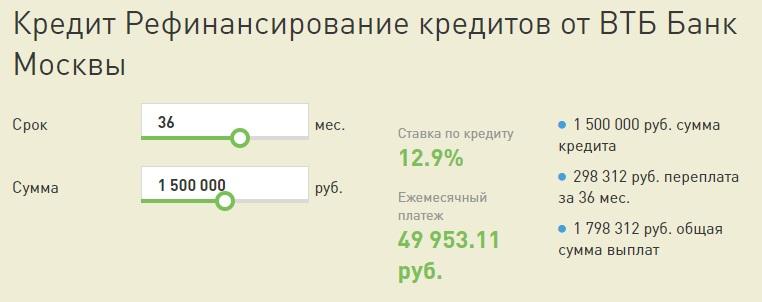 Калькулятор ВТБ Банк
