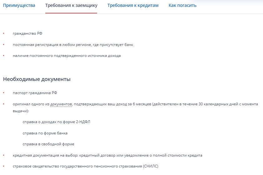 требования к заемщику ВТБ24