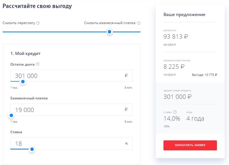 онлайн-калькулятор по потребительскому кредиту в ВТБ24
