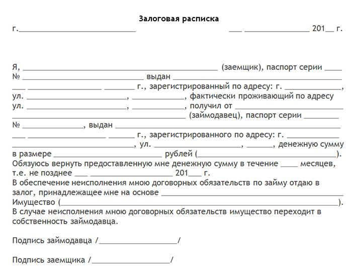 залоговая расписка пример